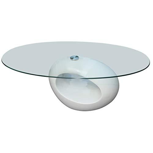 vidaXL Table Basse avec Dessus de Table en Verre Ovale Blanc Brillant Salon