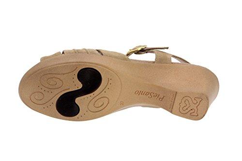 Chaussure femme confort en cuir Piesanto 2865 sandale semelle amovible comfortables amples Beig