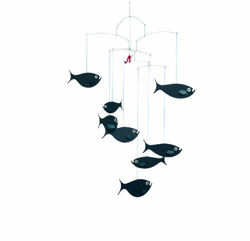 Flensted Mobiles - Fischschwarm - Mobile/Windspiel - schwarz - 45x60cm Fisch Mobile