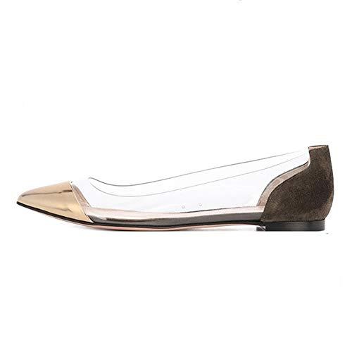 Franco Sarto Peep Toe (JRenok Damen Low Heel Transparent Schuhe Sommer Metall Dekoration Patchwork Spitzschuh Slip On Flats Damen Work Loafers)