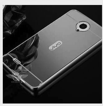 CEDO Premium Luxury Metal Bumper Acrylic Mirror Back Cover Case For Vivo Y21 – Black