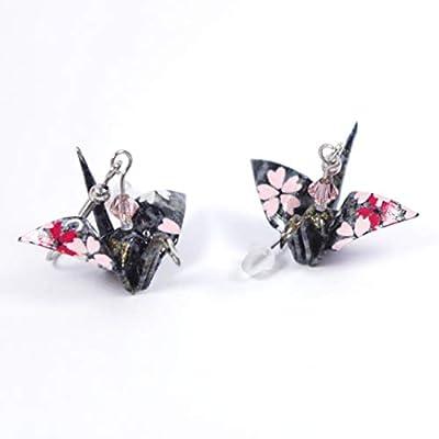 Boucles d'oreilles grues origami grises avec des petites fleurs roses et blanches - crochets inox