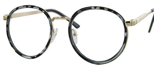 iligrane Pantobrille Retro Hornbrille mit Metallbügel (Hornfarbig) (20er Jahre Herren Kostüm)