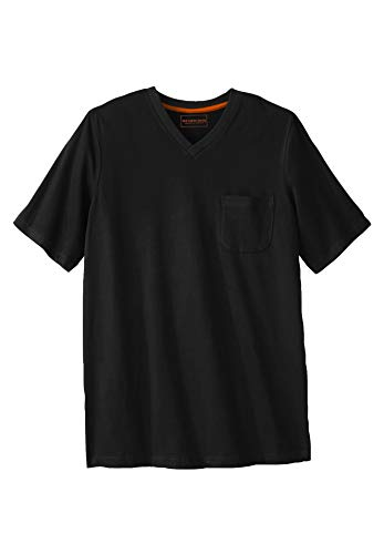 Boulder Creek Herren T-Shirt Big & Tall Heavyweight Pocket V-Neck - Schwarz - Groß-XX-Large - Big And Tall Baumwolle Kleid Shirt