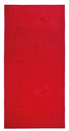 SERVIETTE DE PLAGE EN VELOURS - TAILLE XXL 100x200CM PUR COTON - MOTIFS COQUILLAGES (Rouge) by Arkhipelagos