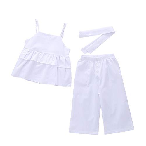 zarupeng‿ 3pcs niñas de los niños sin Mangas Honda Ajustable con Volantes de Color sólido Top + Pants + Hair Band