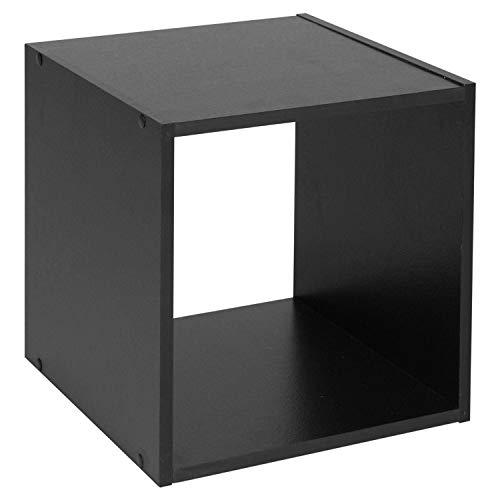 Sabar Holz Bücherregal-Regal Würfel (oder 2, 3, 4Etagen)-Holz-Regale-stapelbar-freistehend, schwarz, Cube -