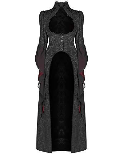 Punk Rave Damen Gotik Kleid Mantel Jacke Lang Schwarz Rot Brokat Steampunk Viktorianisch Regentschaft Aristocrat - Schwarz, M - UK Womens Size ()