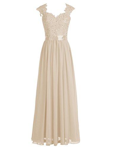 Dresstells Damen Lang Abendkleider Elegant Chiffon Brautjungfernkleider  Champagner