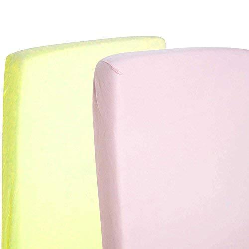 2x cama cuna 100% algodón Jersey Sábana Bajera ajustable de 140x 70cm, color amarillo y rosa