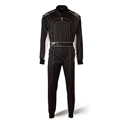 Speed Kartoverall - schwarz/weiß - Kart Hobby Overall - Karting Suit - Rennoverall (XL)