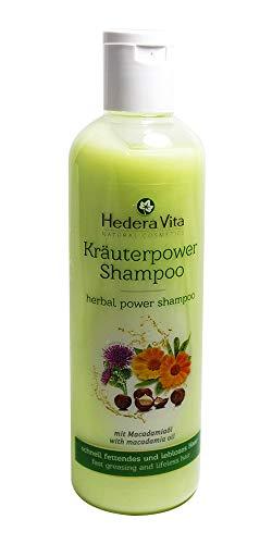 Hedera Vita Kräuterpower Shampoo mit Macadamiaöl | für schnell fettendes und lebloses Haar | ohne Parabene, Paraffine und Silikone, 300ml