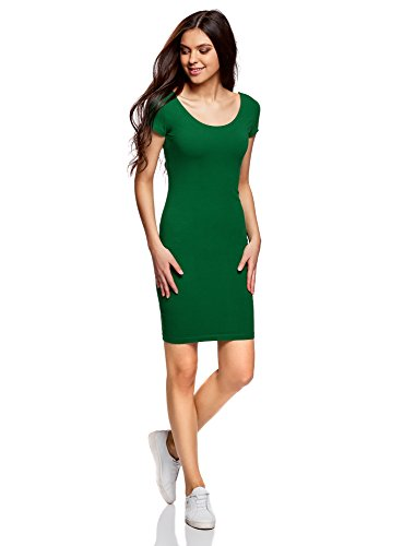 oodji Collection Damen Enges Kleid mit Tiefem Ausschnitt am Rücken, Grün, DE 34/EU 36/XS