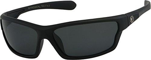 Nitrogen S Rechteckige Sport Wrap 65mm polarisierte Sonnenbrille (Schwarz) 65 Schwarz 5.5W x 1.625h Black Matte Gummierte