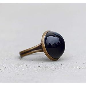 Basic Ring - opak schwarz - schlichter Ring mit Glasstein