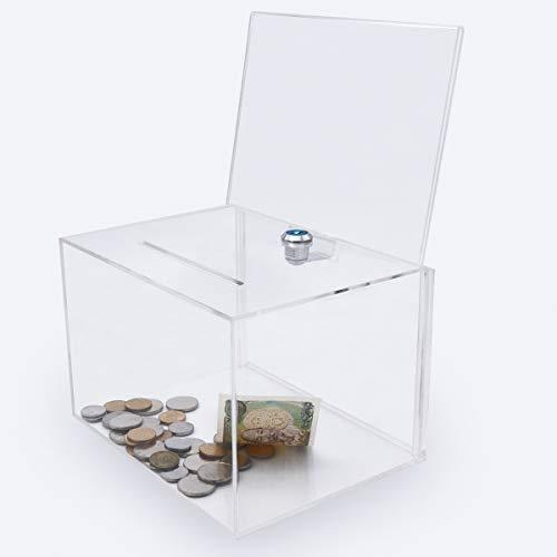 Acrilico donazione scatola con serratura, Urna con Sign Holder, Clear suggerimenti, contenitore per Voto, gala, Scrutinio