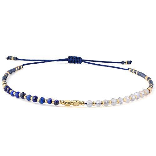 KELITCH Natürlich Kristall Miyuki Perlen Stränge Armbänder Handmade Freundschaft Tennis Armbänder Einstellbar Armreifen - Blau (Blau Und Gold Perlen)