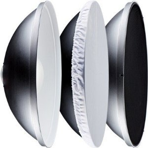Beauty Dish 42cm (16,5 pollici) Bowens S tipo (Piatto di bellezza) Univeral riflettore Con griglia a nido d'ape & Diffusore bianco & Piatto riflettore Film -Interno argento