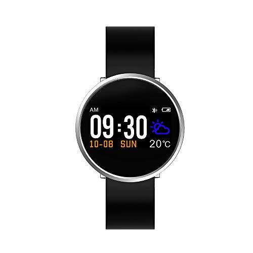 CHUSHENG Bluetooth Smart Color Screen Watch, Stahl Maschine Körper Und Geist Rate Blut Sauerstoff Blutdruck Automatische Test Armband Licht Wasserdicht,B