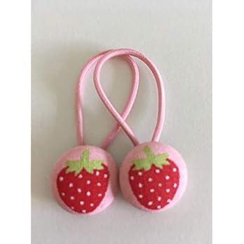 Haargummi Kinder 2er Set Erdbeere (Rosa/Rot)