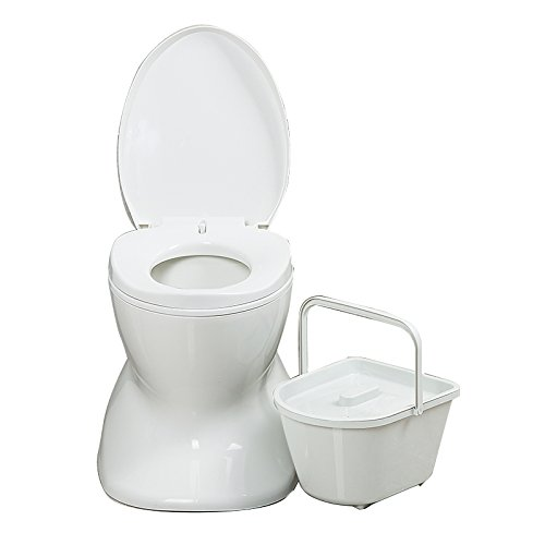 Chaise Commode Léger et Portable Camping Toilette Blanc