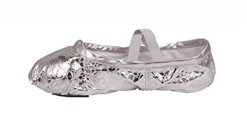 KRY  Leather Ballet Shoes,  Mädchen Unisex Erwachsene Damen Unisex Kinder Ballett Sequins Silver