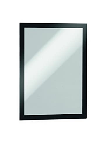 Durable DURAFRAME Self-Adhesive Magnetic Display Frame, A4 Size - Black, Pack of 2