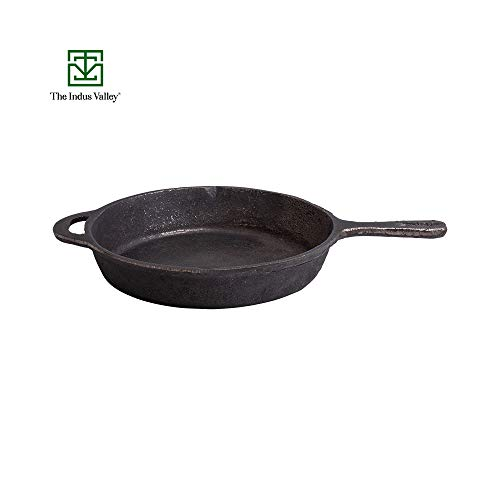The Indus Valley Cast Iron Skillet Pre-Seasoned Cookware, 1.5 L, 10 Inches, Black