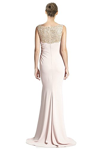 Badgley Mischka Beaded Yoke Ruched Column Evening Gown Dress Blush