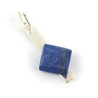 """Pendentif de lapis lazuli de couleur cobalt bleu royal forme carré serti d'argent 925, 29x13x4 mm (1.14x0.51x0.16"""")"""