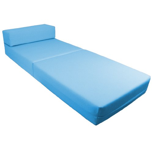 Comfortable Supreme Quality 100% Cotton Single Fold Out Z Bed Chair Futon in Turquoise. Soft, Comfortable & Lightweight with a Removeable Cover. Available in 12 Colours.