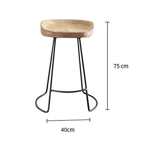 YT Moderne Möbel Barhocker Vintage rustikale Designer Küche Pub Bar Designer Hocker industrielle Art Solid Wood + Eisen,A -