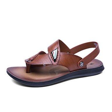 Sandales en cuir Nappa Slingback Printemps Été Talon plat décontracté en plein air Brown