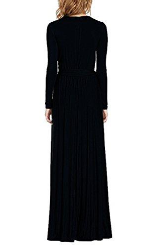 Moollyfox Femmes V Neck Manche Longue Solide Couleur Longue Robe Noir