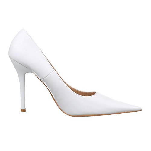 Damen Schuhe, 269-1A, PUMPS HIGH HEELS STILETTO Weiß