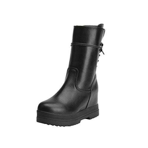 Y2Y Studio Chaussures Femme Conforts Bottines Talon Compensees DE 6 CM Noires Avec Fourrures Chaud Et Confortables
