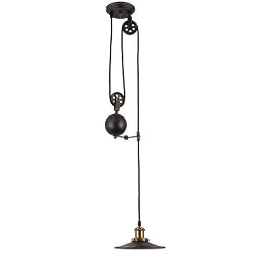 Zenghh Bauernhaus Kronleuchter Innen, Einstellbare Hohe Industrie Riemenscheibe Beleuchtung Land Versenkbare Kronleuchter Beleuchtung Öl Reiben Bronze Edison Island Lampe Retro Dachboden Schlafzimmer -