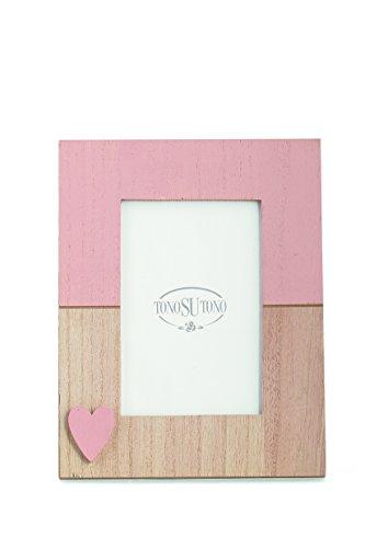 Cornice portafoto rettangolare rosa antico in legno con cuoricino 22971