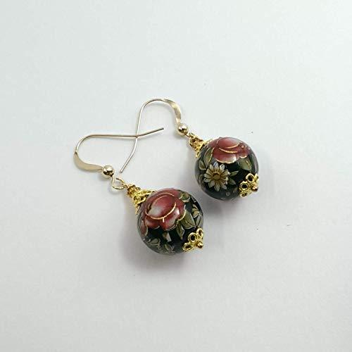 Orecchini pendenti con perle tensha nero e rosso gioielli unici con fiori fatto a mano