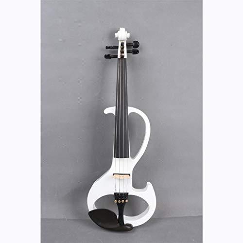 4/4 Stummes Massivholz Ahorn Mit Bogen 4 Schnur Elektrische Violine, Erwachsene, Harte Schale Tuner Kopfhörer Kolophonium Audio Kabel ( Color : Weiß ) -