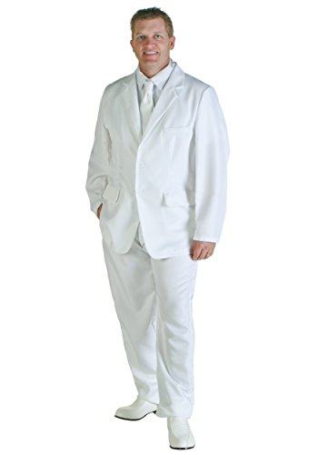 Men's White Suit Fancy dress - Low Cost - S to XL - Ideal for 80s Miami Vice Look