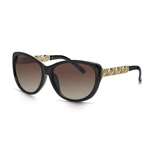 Sunglass Junkie Übergrosse Schwarze Damen Cat-Eye Sonnenbrille aus glänzendem, leichtem Polykarbonat mit glamouröser Designer Gold-Metall Kette am Arm. Braune UV400 Verlaufsgläser für 100% UV-Schutz