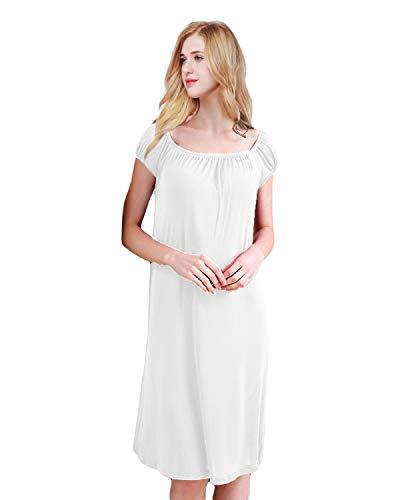 2b66be36ed7 ETAOLINE Womens Nightdress Long Silky Nightwear Ladies Jersey Nightshirt  Nightie