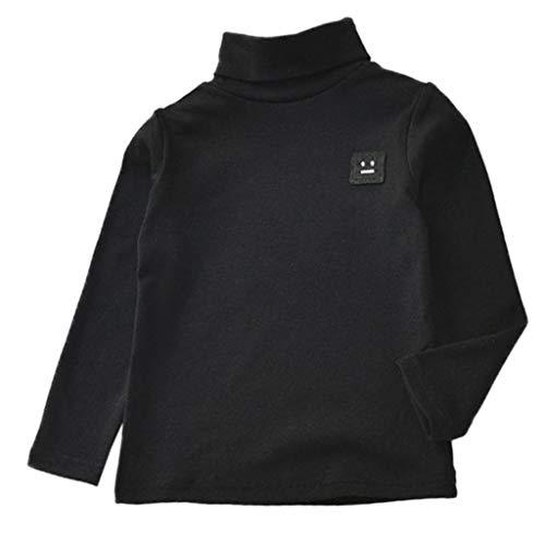 MRULIC Langärmliges Sweatshirt des Kind Baby Stehkragen Jungen-Oberteile T-Stück Pullover Sweatshirt(Schwarz,Höhe:115-120CM)