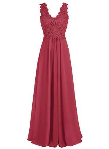 Bbonlinedress Robe de cérémonie et de mariage ou demoiselle d'honneur plissée dentelle florale sans manches longueur ras du sol en mousseline Rouge Foncé