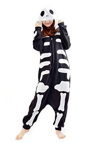 Unisex Kigurumi Jumpsuit Tier Pyjamas Kostüm Fasching Onesie Damen Herren Karneval Cosplay Nachtwäsche, Skelett (Frauen Skelett Halloween Kostüm)