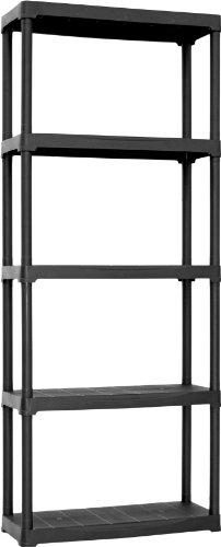 Art plast t70/5/s scaffale in plastica, nero, 70x30x175,5 cm