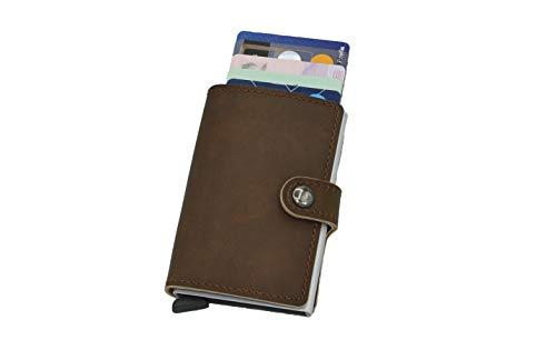 Lomenti Dunkelbraun Leder Kreditkartenetui Slim Wallet mit RFID Schutz Platz für 6 Karten Geldbörse für Damen und Herren - Deluxe Damen Geldbörse