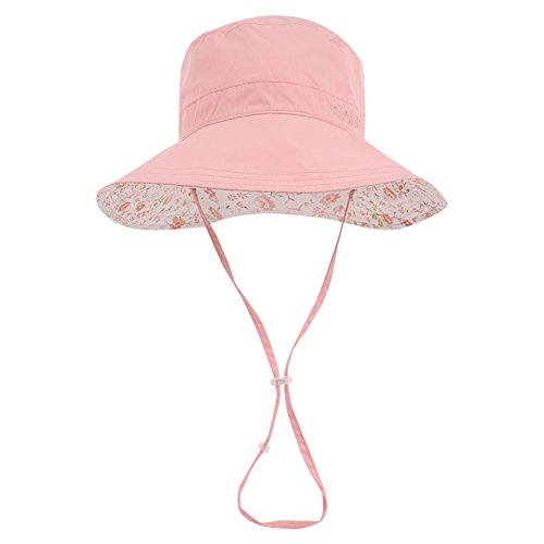 a227832986e Wide Brim Bucket Sun Hat UV50+ Protection - Summer Boonie Fishing Beach Hats  with Adjustable Chin Cord and Flower Pattern Design - Packable Outdoor  Floppy ...