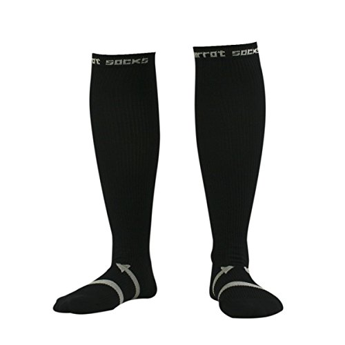 ession Socken Knie Hohe Strumpf Nylon Sport Athletic Laufsocken für Übung Fußball Ball - Größe L (Schwarz) ()